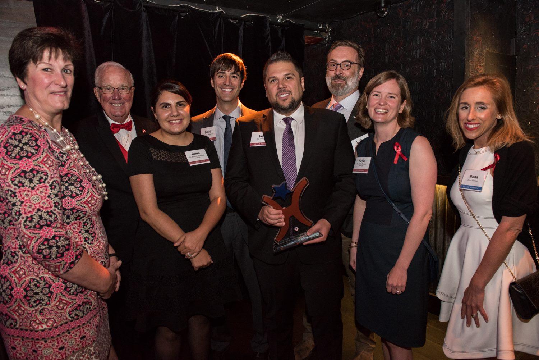 Members of the U-M Pulse team with fellow winner Jay Towers, sepsis survivor Dana Miriam, and Sepsis Alliance founder Carl Flatley.