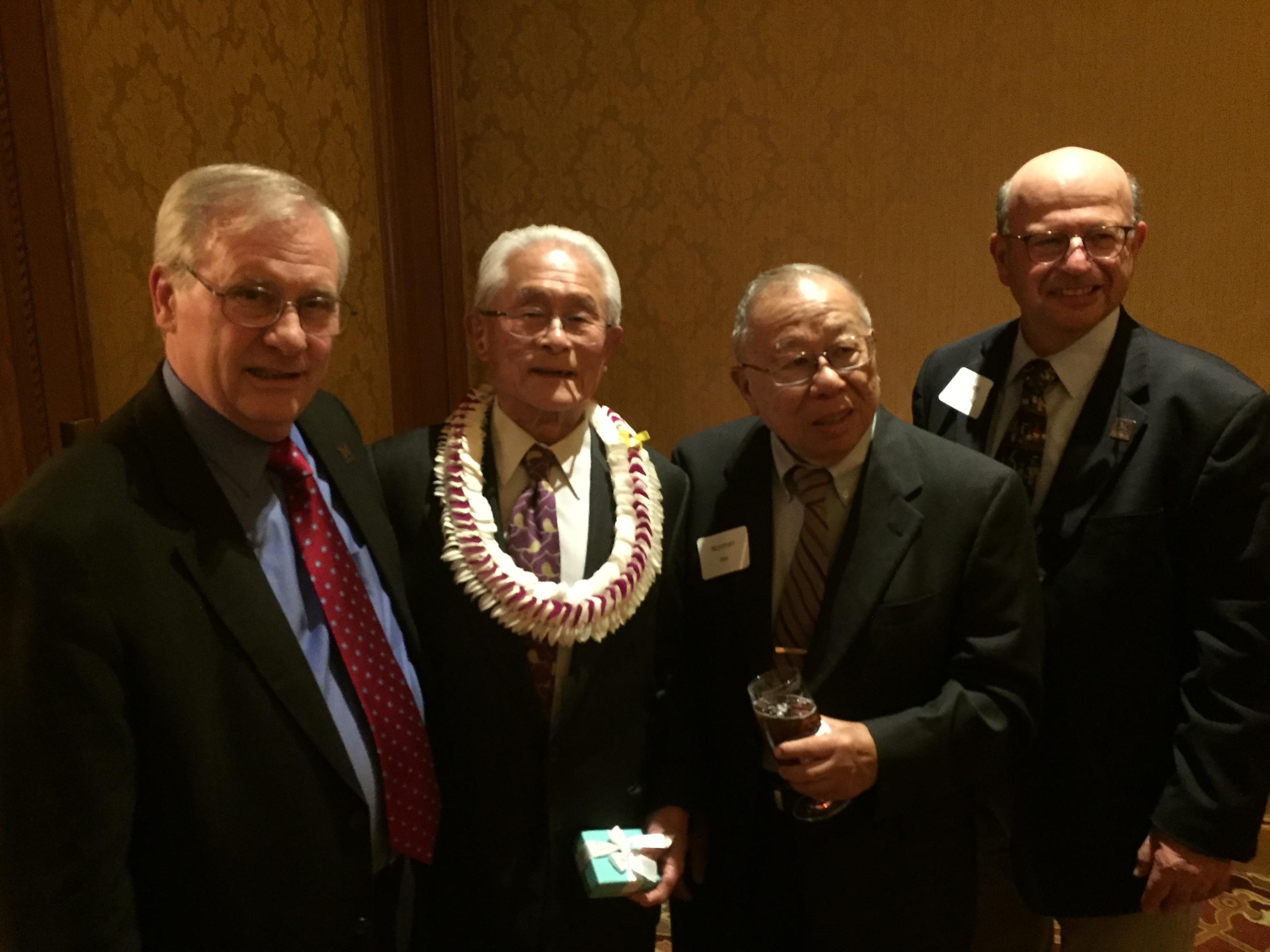 Gordon Amidon, William Higuchi, Norman Ho, and Frank Ascione at Dr. Higuchi's 85th birthday party.