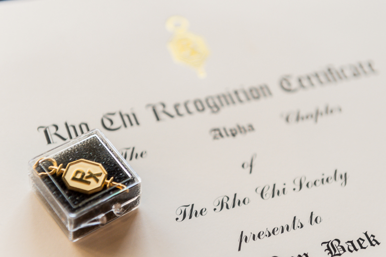 Rho Chi Society pin and certificate