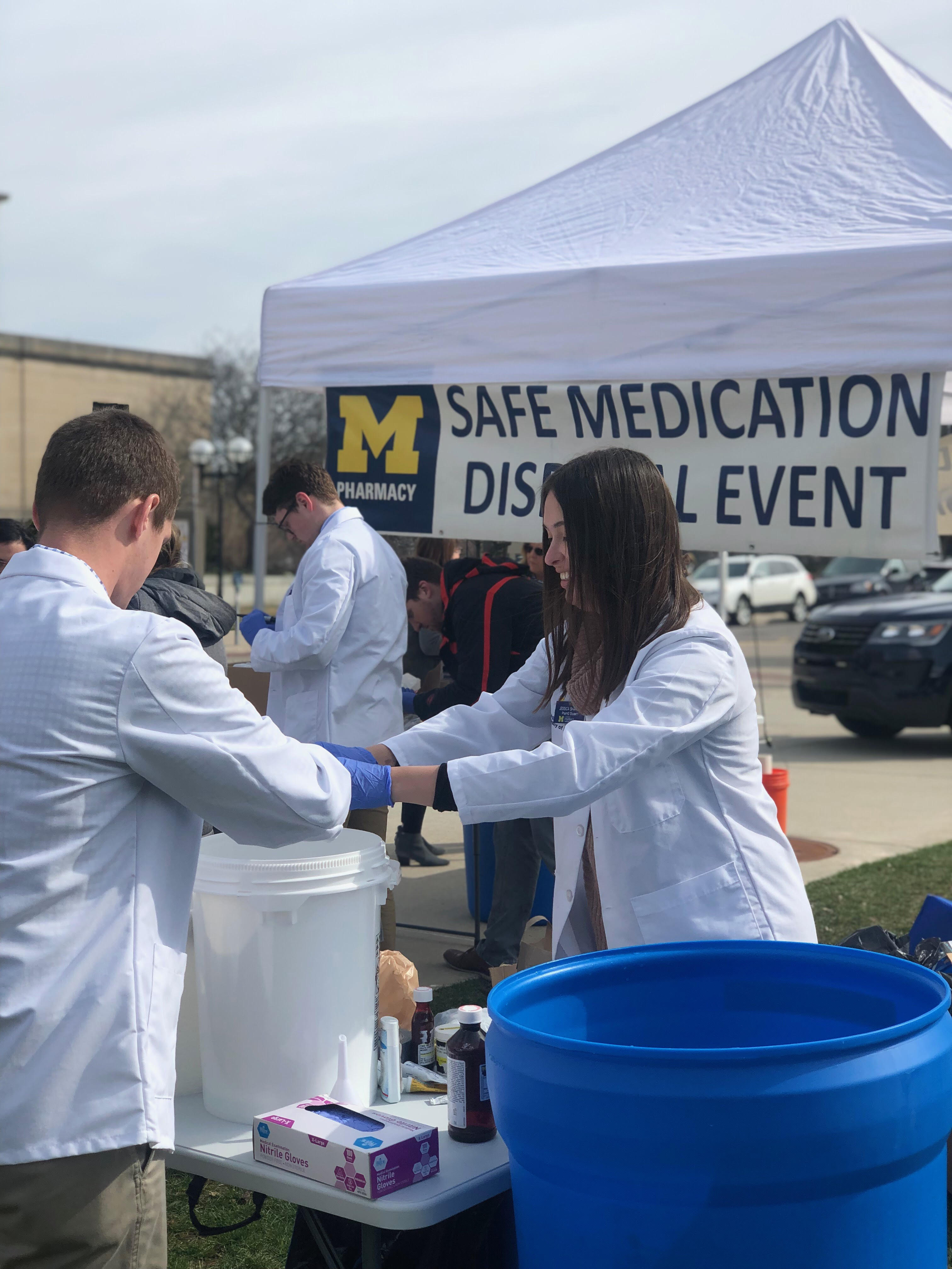 Students collecting medication at the College's Safe Medication Disposal Event