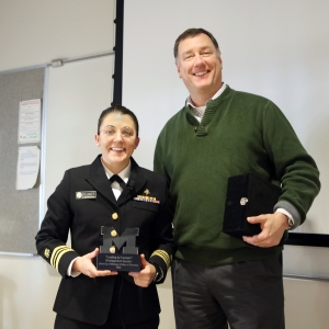 LCDR Tiffany Pfundt (left) with Bruce Mueller, PharmD, Senior Associate Dean and Professor of Pharmacy (right)
