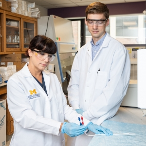 Dr. Amy Pai with Michael Dean, clinical research assistant.